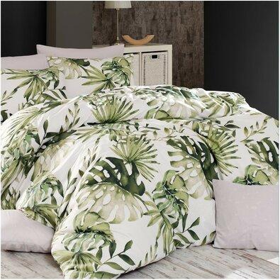 Lenjerie de pat din bumbac Botanic, verde, 140 x 200 cm, 70 x 90 cm