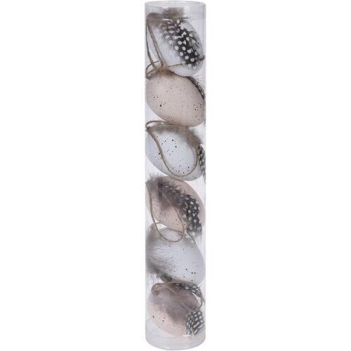 Sada veľkonočných vajíčok s pierkami 6 ks, pr. 4 cm