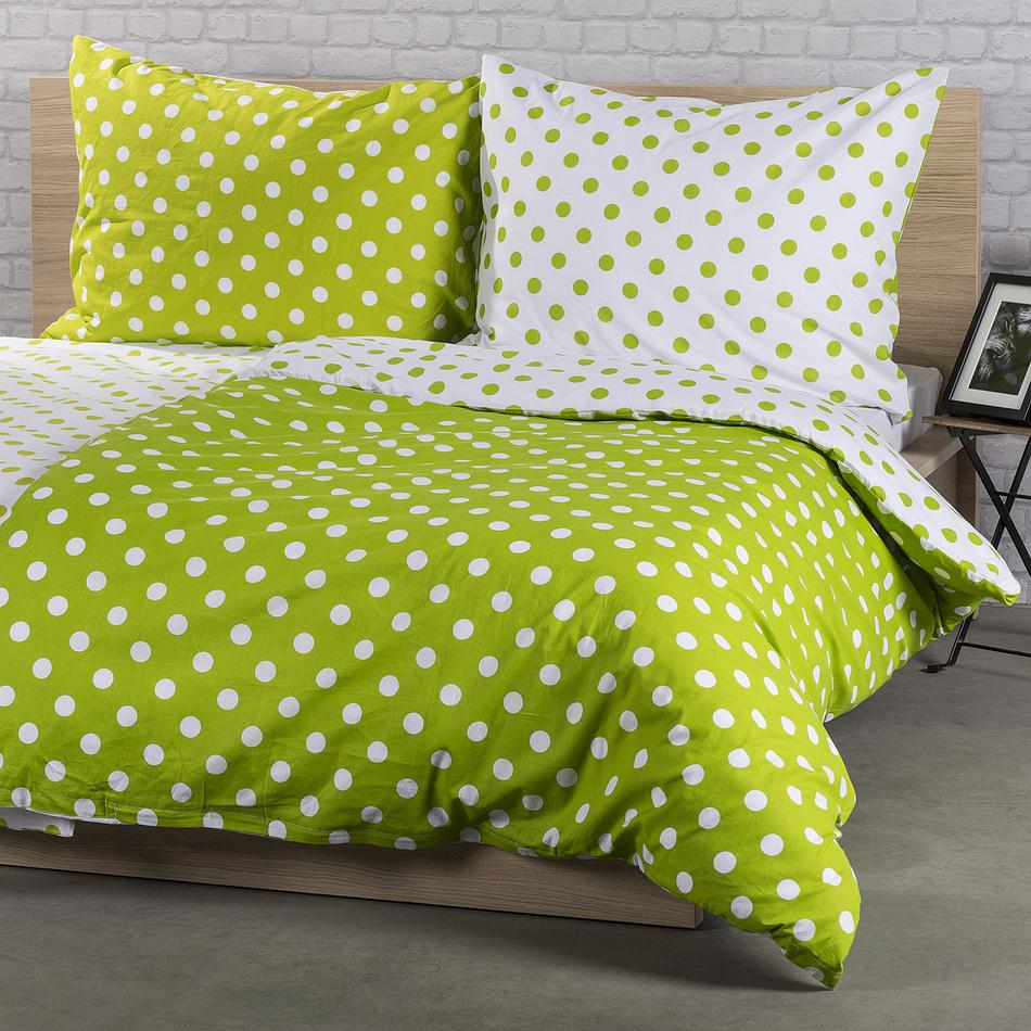 4Home Bavlněné povlečení Zelený puntík, 140 x 220 cm, 70 x 90 cm