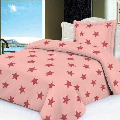 Povlečeni mikroplyš Stars růžová, 140 x 200 cm, 70 x 90 cm