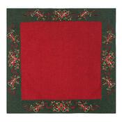 Vánoční ubrus Zvonečky zelený lem, 85 x 85 cm