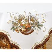 Vánoční ubrus Svíce se zvonky, hnědý, 85 x 85 cm