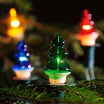 Karácsonyfa fényfüzér, színes, 12 db égő