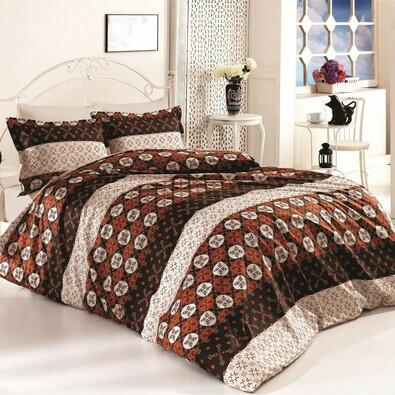 Pościel bawełniana Delux Circles brązowy, 240 x 200 cm, 2x 70 x 90 cm