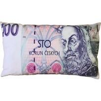 Polštářek Bankovka 100 Kč, 35 x 60 cm