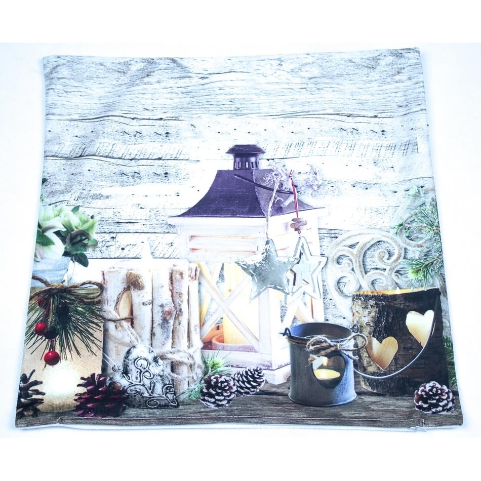 BO-MA Trading Vánoční povlak na polštářek Svícny, 40 x 40 cm