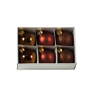 Skleněné vánoční koule, měděné, 6 ks, měděná