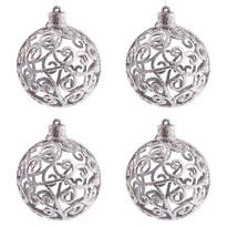 Sada vánočních ozdob Shiny Koule stříbrná, 4 ks