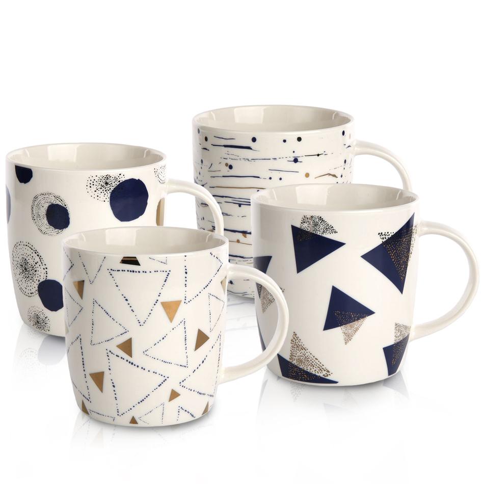 Sada porcelánových hrnků Geometric, 340 ml, 4 ks