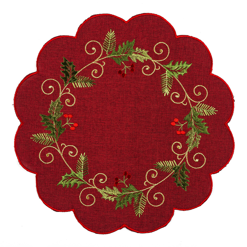 Forbyt Vánoční ubrus Cesmína červená, pr. 35, pr. 35 cm