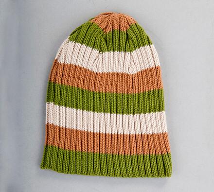 Pletená čepice se širokými pruhy Karpet 5069, oliv, vícebarevná