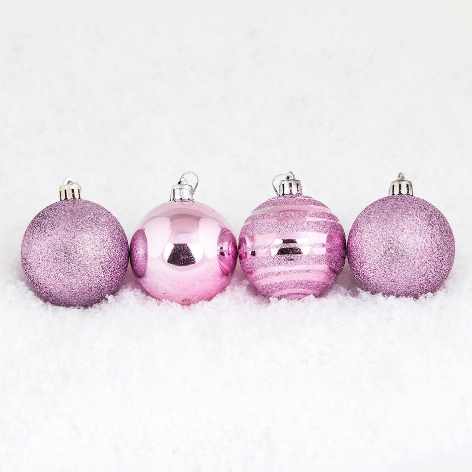 Vánoční koule pr. 5 cm, růžová, HTH