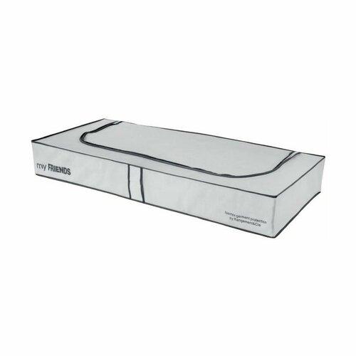 """Compactor Nizky textilný úložný box Compactor """"My Friends"""" 108 x 45 x15 cm, sivo-biely"""
