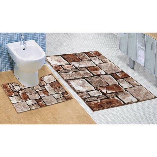 Bellatex fürdőszobai szőnyegkészlet Kőpadló 3D, 60 x 100 cm, 60 x 50 cm