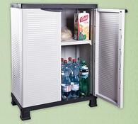 Univerzální nízká plastová skříň, bílá,  68,2 x 37,6 x 92 cm