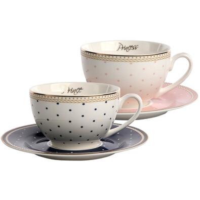 Altom Sada porcelánových šálok s podšálkami Prince & Princess 200 ml, 2 ks