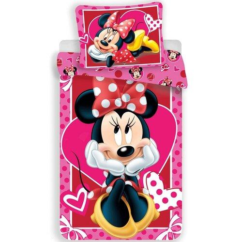 Jerry Fabrics Dětské bavlněné povlečení Minnie hearts 02, 140 x 200 cm, 70 x 90 cm