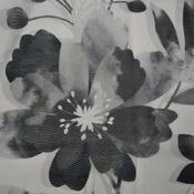 Draperie cu inele Sam, flori, negru, 135 x 245 cm