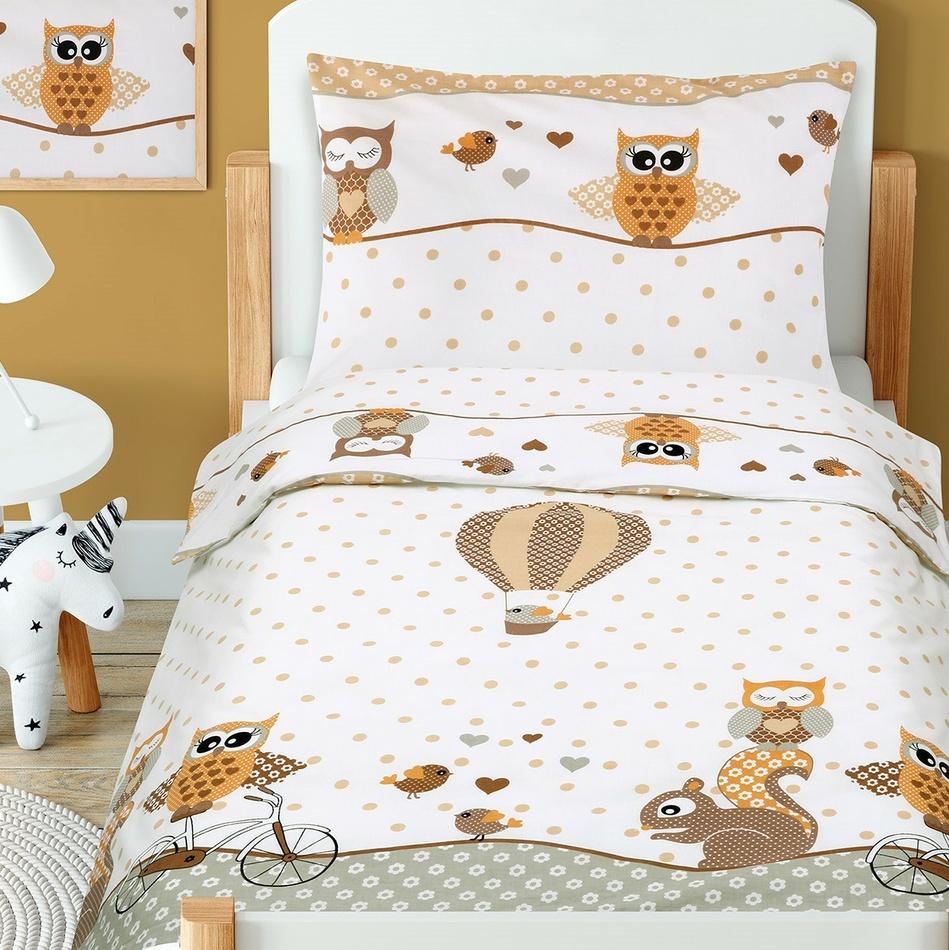 Beáta gyermek pamut ágynemű kiságyba Kisbagoly, bézs, 100 x 135 cm, 45 x 60 cm