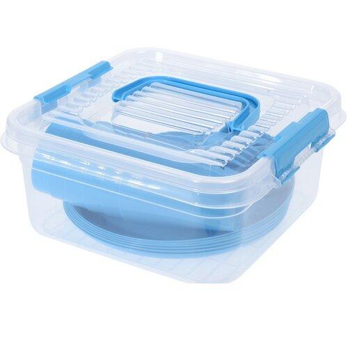 Pikniková sada plastového nádobí 31 ks, modrá