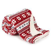 4Home Vánoční beránková deka Zimní sen červená, 150 x 200 cm