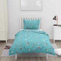 Bavlnené obliečky Modré kvety, 140 x 200 cm, 70 x 90 cm