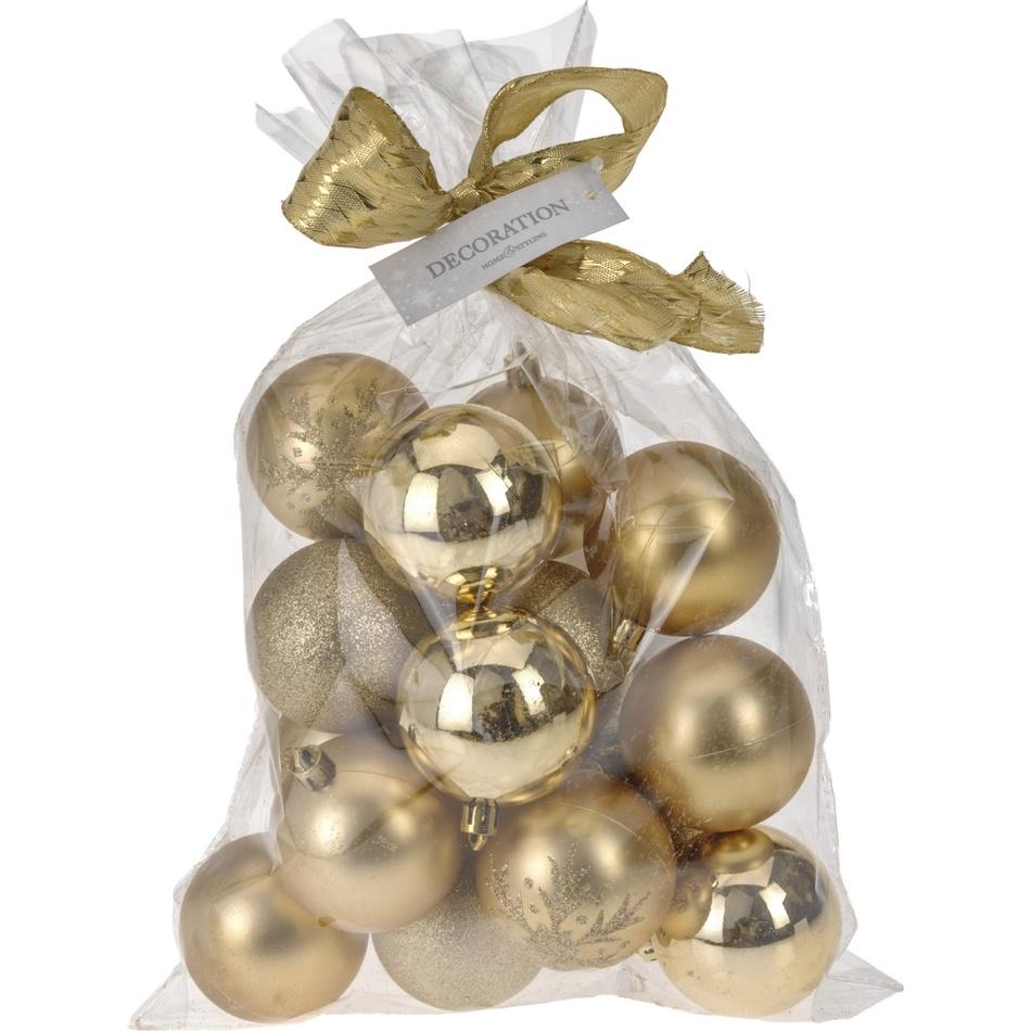 Vánoční koule Candy 16 ks, zlatá, 16 x 6 cm