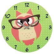 Hama nástěnné hodiny Sova s brýlemi, skleněné