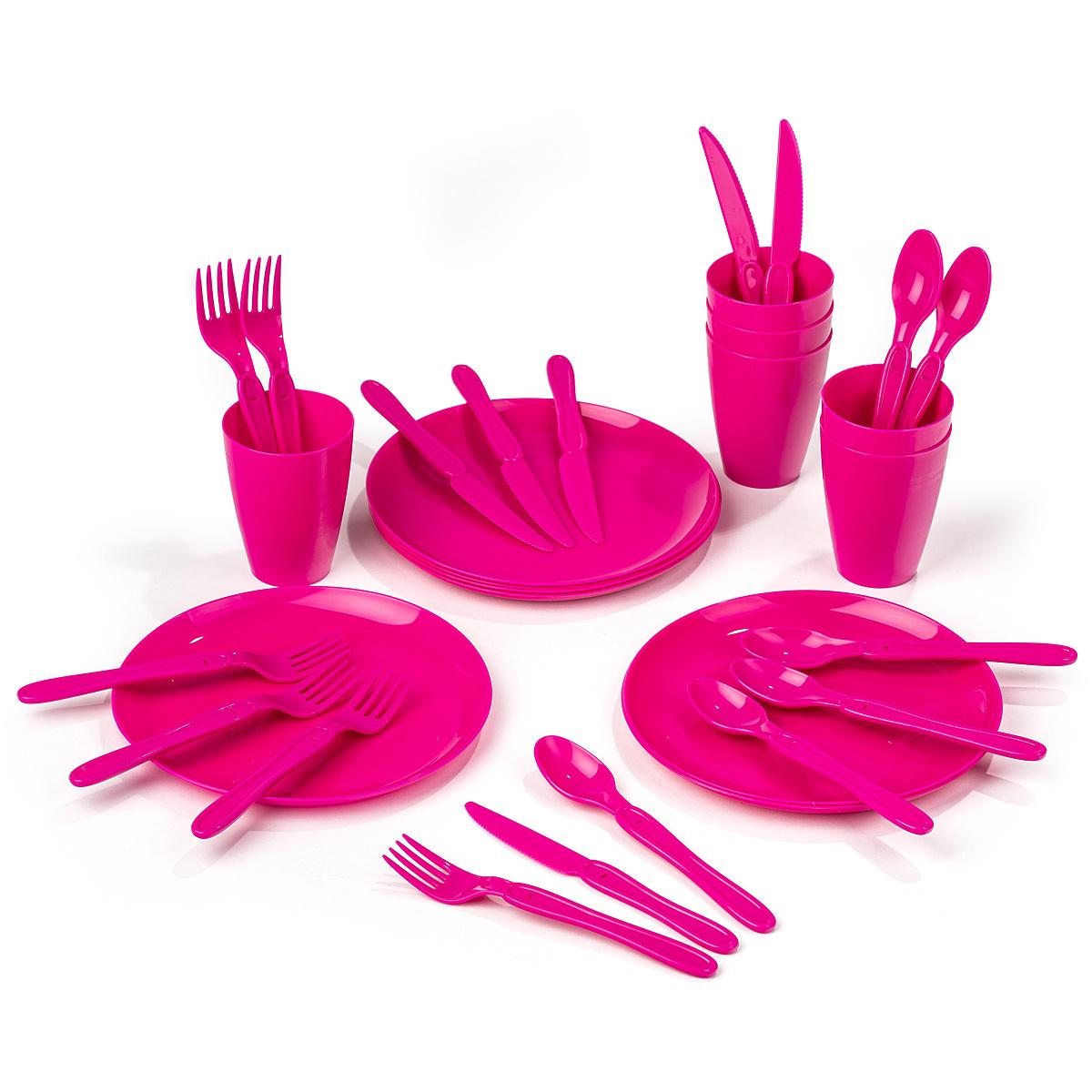 Koopman Sada plastového riadu Piknik, 31 ks, ružová