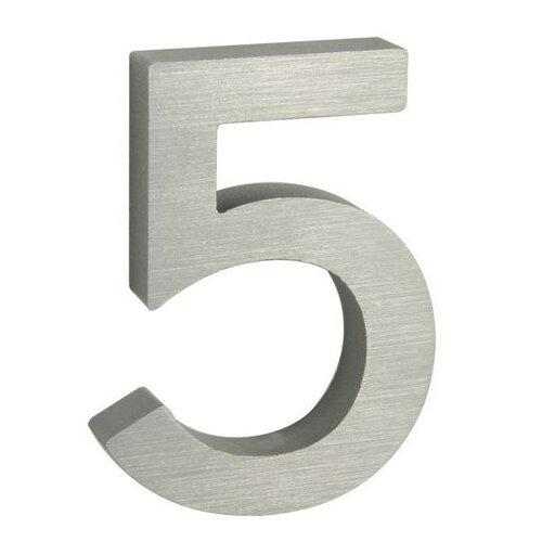 Hliníkové domovní číslo 3D broušený povrch RN.100LV.5.AL.3D