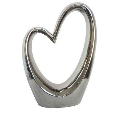 Keramická stříbrná dekorace Srdce, 17,5 x 24,5 cm