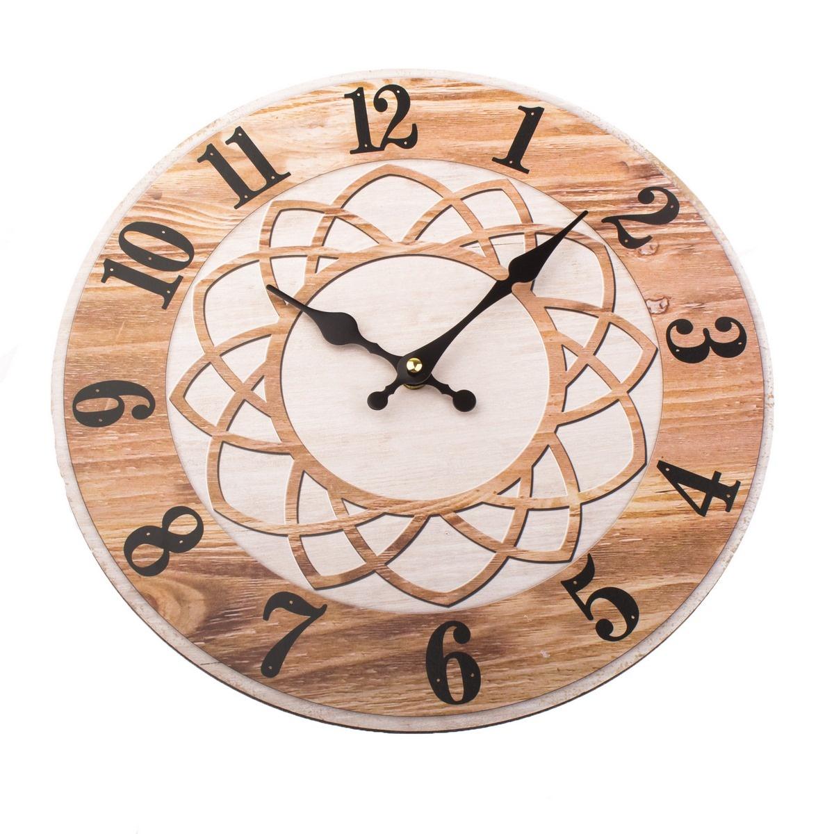 Nástěnné hodiny Mandala 34 cm, přírodní