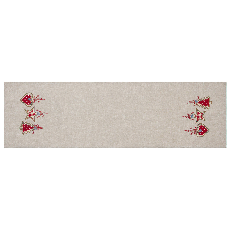 BO-MA Trading Vánoční běhoun na stůl Perníčky šedá, 40 x 140 cm