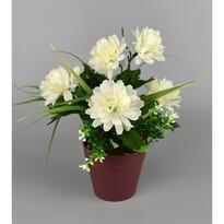 Umělá květina Chrysantéma v květináči 22 cm, bílá