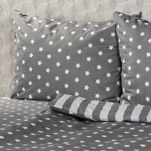 4Home Bavlněné povlečení Stars šedá, 220 x 200 cm, 2x 70 x 90 cm
