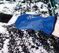 Škrabka na okna s rukavicí, modrá, 32 x 10 cm