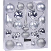 Sada vánočních ozdob Clotte stříbrná, 19 ks