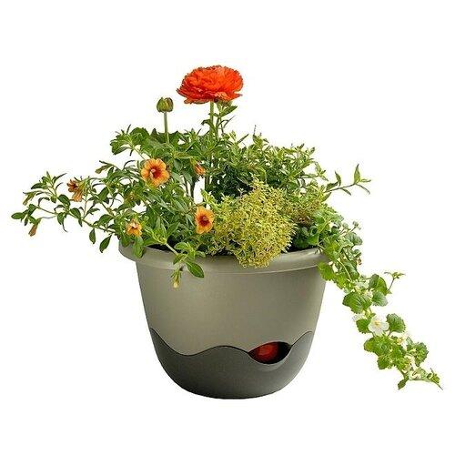 Plastia Samozavlažovací květináč Mareta šedá, pr. 25 cm