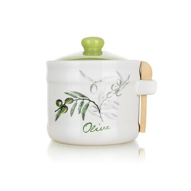Vas ceramic cu linguriță Banquet Olives