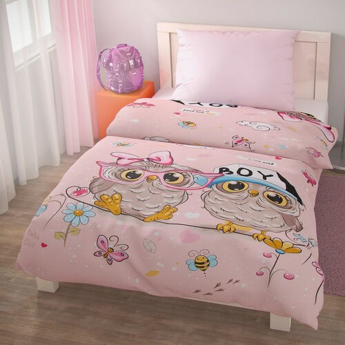 Dětské bavlněné povlečení PUHU růžová, 140 x 220 cm, 70 x 90 cm