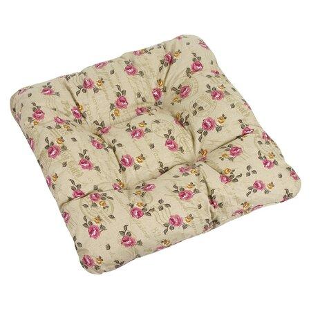 Pernă de scaun Adela trandafiri pe culoare mierii, 38 x 38 cm