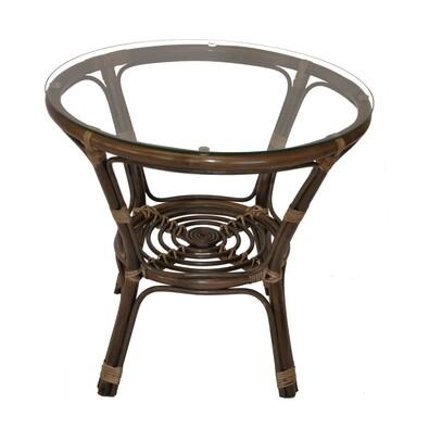 Ratanový stolek Bahama se sklem, tmavě hnědá