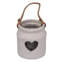 Betónový svietnik Srdce sivá, 10,5 x 11,5 cm