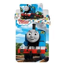 Gyermek pamut ágynemű kiságyba, Thomas, a  gőzmozdony, Funny baby, 100 x 135 cm, 40 x 60 cm