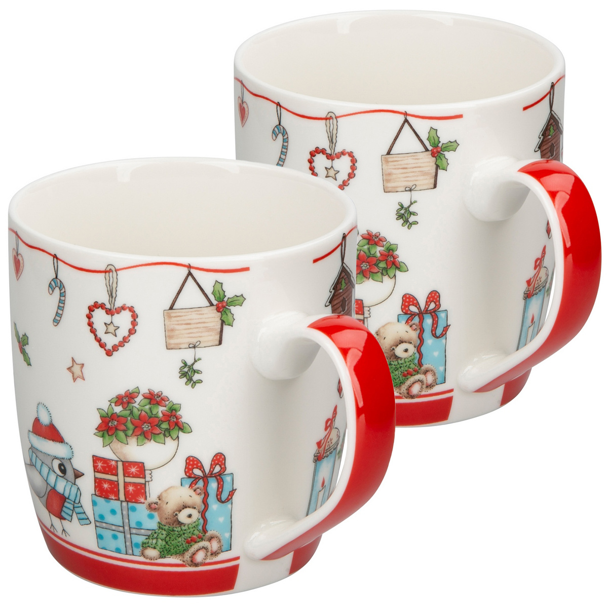Altom Porcelánový hrnček Holly Christmas red 300 ml, 2 ks