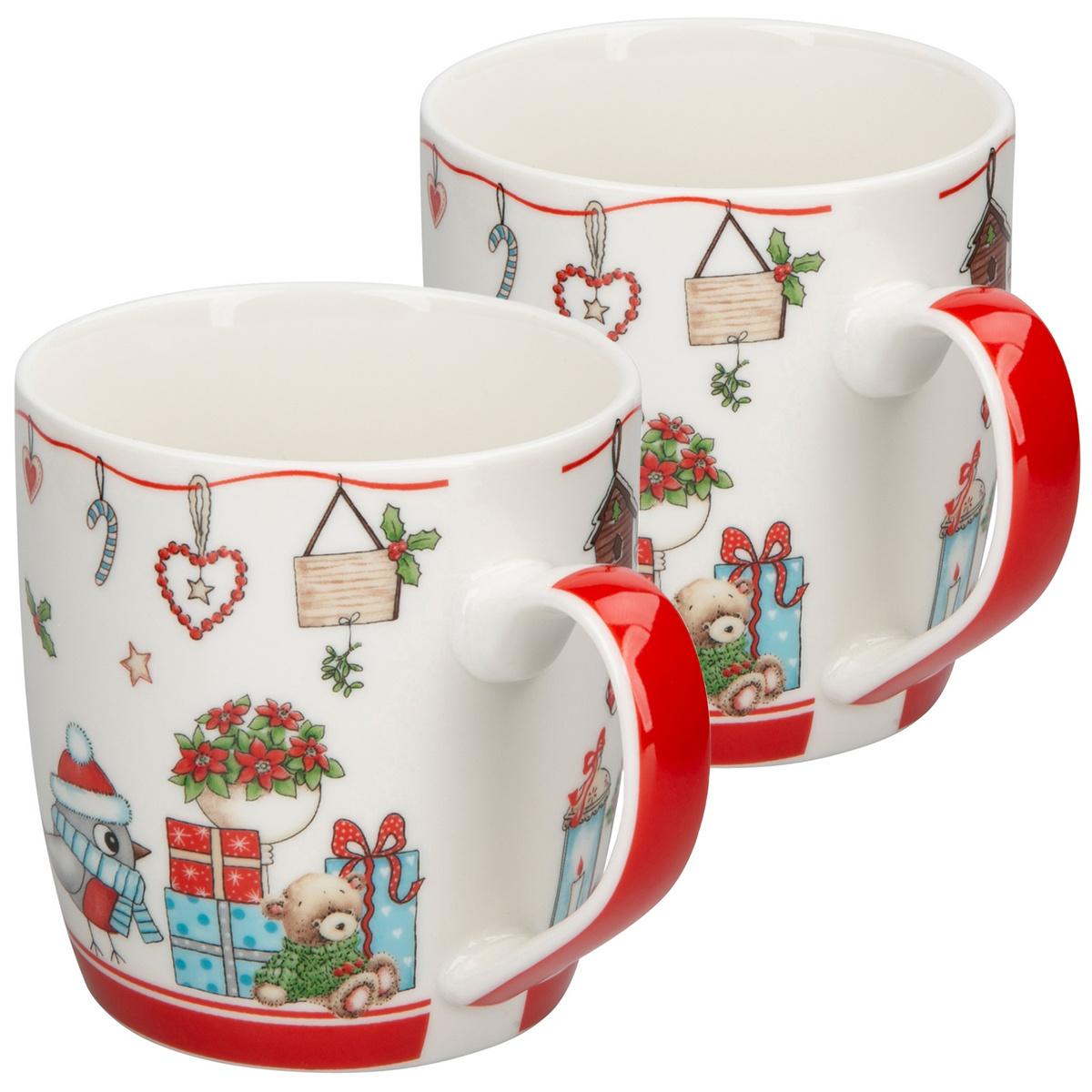 Altom Porcelánový hrnek Holly Christmas red 300 ml, 2 ks