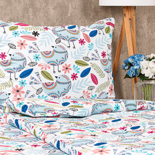 4Home Lenjerie de pat creponată Birds, 140 x 200 cm, 70 x 90 cm