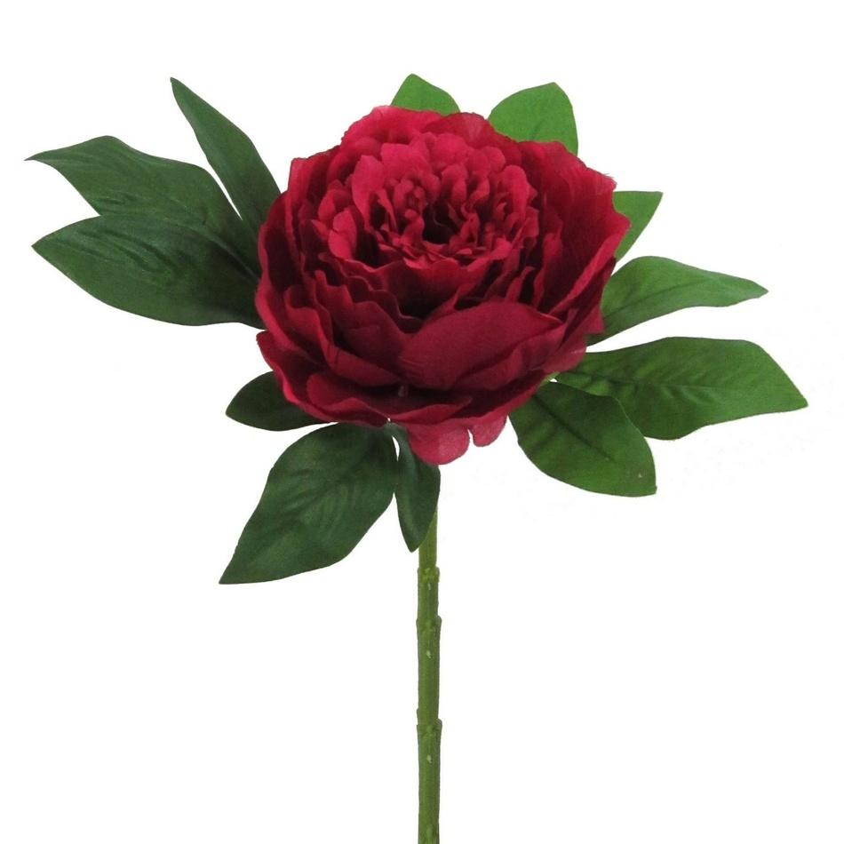 Umělá květina Pivoňka červená, 34 cm