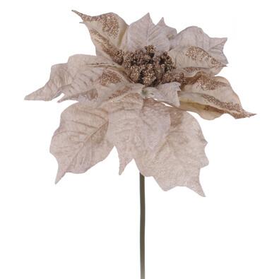 Umělá květina poinsettia zlatá 3 ks