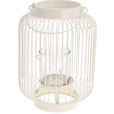 Lagata lámpás üveggel, fehér, 16,5 x 23 cm
